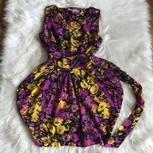 ASOS Purple & Yellow Floral Dress With Sash